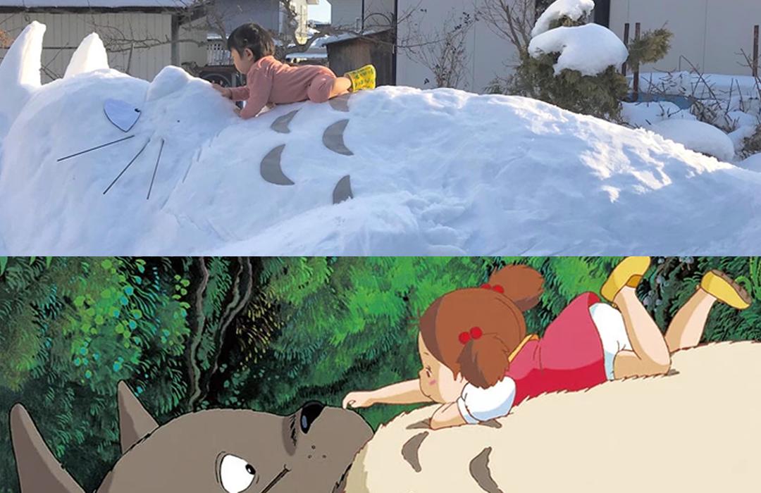 日媽媽砌巨型龍貓雪人!呀囡可愛重現電影經典畫面
